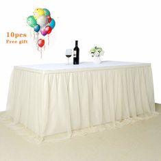 China Romantic Ivory Disposable Plastic Table Skirts Extra Fluffy For Wedding Ceremony supplier