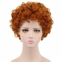 China Orange Cosplay Party Wigs , Short Wavy Wigs Synthetic Fiber Material supplier