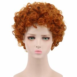Orange Cosplay Party Wigs , Short Wavy Wigs Synthetic Fiber Material